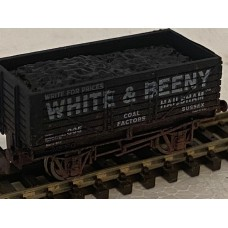 S3169NW  White & Beeny 7 plank Weathered N Gauge Black coal wagon  RN305